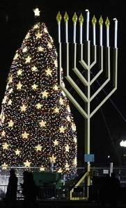 Menorah and tree